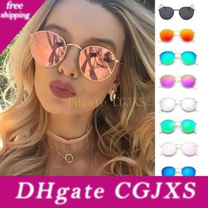 New Women Colorful Round Style Sunglasses Luxury Metal Eyeglasses Frame Sunglasses Charm Girl Casual Eyewear Summer Outdoor Accessories