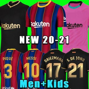 TOP FC BARCELONA camisa de futebol 20 21 Camisetas de futbol Ansu FATI 2020 2021 Messi Griezmann de Jong Maillots de camisa de futebol kit homens crianças