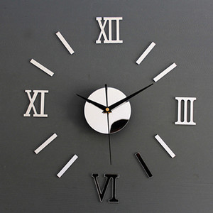 Numerais romanos Frameless Grande superfície de acrílico Espelho 3D DIY Relógio de parede Home Office escola decoração da parede Relógio Adesivos 1
