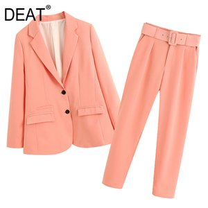 [DEAT] 2020 New schicke Art Gürtel Solid Herbst stattliche beiläufige Klage-Mantel + High Waist Hose mit weitem Bein Mop Hosen Frauen-Anzug 13T412