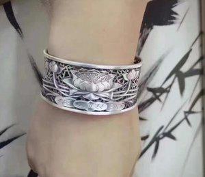 KJJEAXCMY S999 Zuyin jewelry silver hollow lotus lotus retro female trendsetter wide Bracelet