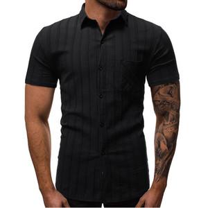 Männlich gestreiftes Kurzarm-Shirts Turn-down-Kragen Baumwolle Leinen atmungsaktive Soft chinesischen Ethnic Retro Vintage Männer Tops