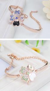 Crystal Four Leaf Clover Bracelets Love Charm Diamond Cuff Bangle Inspirational Jewelry Women Luxury Love Lucky Bracelet