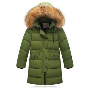-30 graus roupas New Crianças Meninos Inverno Engrosse Aqueça jaquetas longo Casacos com capuz Casacos roupa do bebé Crianças parka