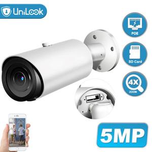 마이크 SD 카드 슬롯 히크 비전 지원 ONVIF 나이트 비전 IP 66 H.265 내장 UniLook 5MP 지원 4 배 줌 POE IP 카메라