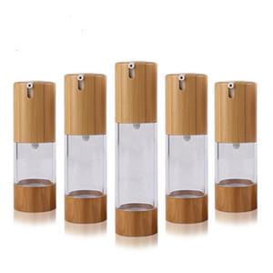 Çevre Bambu Uçlar Şişe 15ml Parfüm Losyon Kozmetik Cilt Bakımı Havasız Pompa konteynırlar için 30ml 50ml Boş Püskürtme Şişe