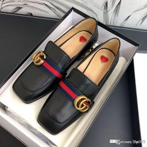 New women's leather mid-heel loafer luxury designer shoes women's loafers fashion casual designer shoes top quality size 35-40
