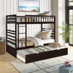 США Stock Быстрая доставка Orisfur Твин За Твин Двухъярусная кровать с Trundle твердой древесины Двухъярусная кровать SG000096PAA