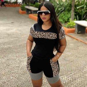 ZOOEFFBB más el tamaño de dos piezas del leopardo de la manera del grano de Bodycon de las mujeres atractivas ropa se cae Tops y pantalones cortos de los chándales de Trajes