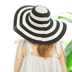 Rayas de la playa de sombreros paja de las mujeres sombrero de ala Classic Girl Negro y rayas de la vendimia blanca del borde grande ancho sombrero de Sun de la manera de los casquillos GGA3631-3