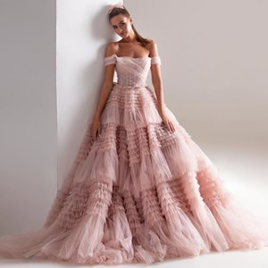 Graceful Blush A Line Tiered Wedding Dresses Off The Shoulder Neck Bridal Gowns Sweep Train Pleated Tulle robe de mariée