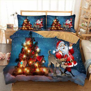 Natale Insieme dell'assestamento dei bambini 3D del fumetto di Buon regalo di Natale Babbo Natale Duvet Quilt Cover federe Letti Queen Size Capodanno Y200111