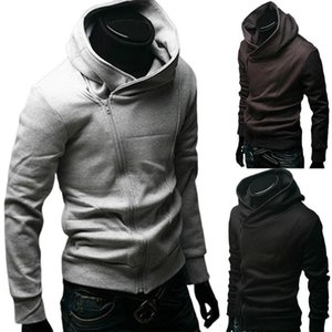 Мужская мода Solid Color Длинные рукава Диагональ молнии хлопок Спорт Куртка с капюшоном Спортивная Gym Tight Обучение Tops