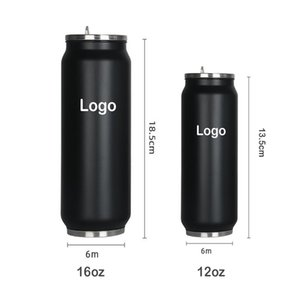 Пользовательский логотип 12oz 16oz Личность Cola может сформировать 304 из нержавеющей стали с двойными стенками Изолированный Герметичные Портативный бутылки воды Массажер с крышкой