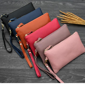 Real Cow Genuine Leather Wallet Women Mini Handbag Purse Card ID Phone Holder Zipper Clutch Evening Bags Small Wristlet Wallets