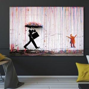 Ev Dekorasyonu Artwork Posterler Ve Baskılar Duvar Resimleri Hiçbir Frame Boyama Banksy Renkli Yağmur Wall Art Kanvas