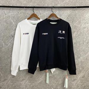 Mens Stylist Hoodies pulôver crisântemo e padrão Off Bar Preto Whiter pulôver camisola High Street Moda solto camisola