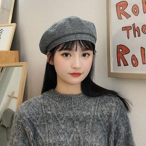 L'autunno e cappello di lana femminile di inverno retrò plaid berretto coreano Joker britannico cappello ottagonale cappello pittore minimalista giapponese