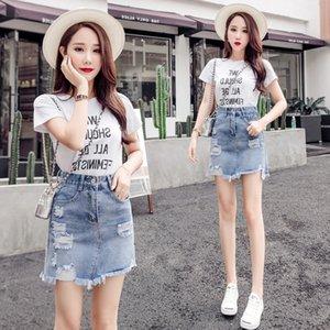yDnQ4 One-Step denim femmes denim été- LINE A 2019 nouvelle jupe skirt- ressort taille haute Une ligne une étape style coréen été sac de la hanche