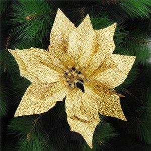 Рождество украшение для дома NAVIDAD 15см Красочные Simulation Блеск Hollow Искусственный цветок елочных RMAA #