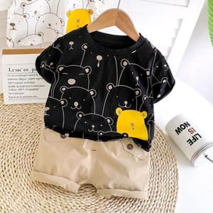 Children Clothes 2pcs Set Clothing Cartoon Printed Bear T-shirt + Shorts Clothing Boys Tracksuit Cotton For Baby Boys Clothes