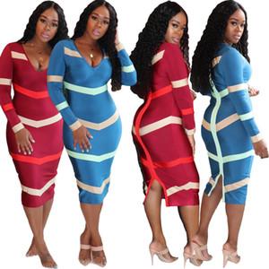 Gestreifte Womens Designer-Kleider Rückseite Reißverschluss Langarm V-Ausschnitt Split-Kleid Herbst beiläufige Frauen Bodycon Kleider Kleidung