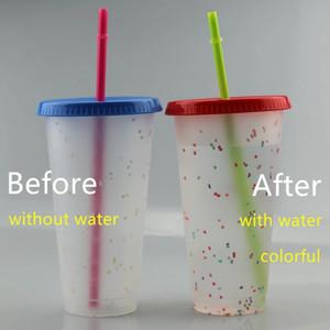 710 ملليلتر لون تغيير كأس الكؤوس كأس البلاستيك الشرب البهلوانات تغيير لون PP مع غطاء والقش 5 قطعة / المجموعة مختلط لون السفينة بواسطة المحيط