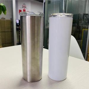 20 oz beyaz boş süblimasyon sıska mandal kaplanmış vakumlu düz kupa DIY uzun sıska bardak yalıtılmış toz kapağı
