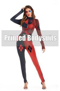 Indossare indumenti di Halloween scenografo modello 3D tute delle donne casual manica lunga stand colletto pagliaccetti del Womens