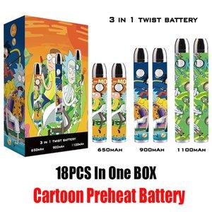 Karikatür Baskı Ön ısıtma Pil 650/900 / 1100mAh Kalem 510 iplik Ayarlanabilir 3.3-3.6-3.9-4.2v Büküm Piller Vape Kartuş 18pcs Görüntü