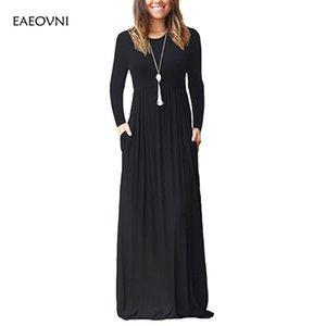 Kleid Frauen 2020 Frühling lange Ärmel Mode-Sommer-Maxi Kleid-elastische Taille beiläufige Damen Female Plus Size Lange Kleider vestidos