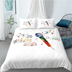 3D Printing100% Microfiber Bedding Set Colorful Piano Keyboard Music Note Treble Clef Duvet Cover Sets
