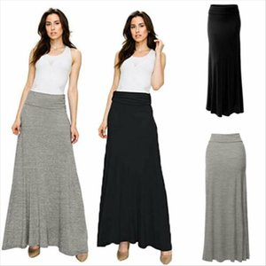 2020 Summer Women Sexy Solid High Elastic Waist Fold Over Long Jersey Maxi Skirt Drop Shipping