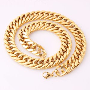 MENS 18K Gold Plated GP Stainless Steel Cuban Chain Necklace, Hip Hop Jewelry 2013, Rock,Wholesale Free Shipping