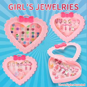 Children exquisite earrings Girl jewelry box series Children's jewelry storage box Girl birthday Gift 3 styles