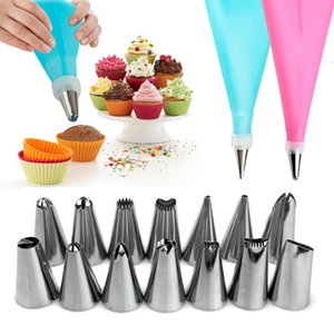 26 PCS Set Silicone Pastry Bag Tips Kitchen DIY Icing Piping Cream Reusable Pastry Bags +24 Nozzle Set Cake Decorating Tools