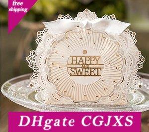 2017 Novo Estilo caixa dos doces do casamento quot; feliz And Sweet quot; Laser casamento Cut Favor Boxes Casamento favores do casamento Presentes