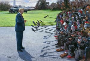 Jon McNaughton VOUS FAKE NOUVELLES Trump Parler à Clown médias Marine One Home Decor Peinture à l'huile sur toile Wall Art Image 200824