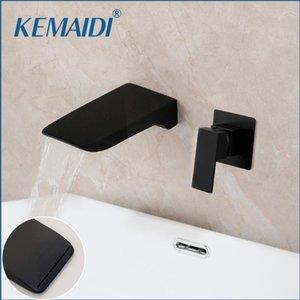 KEMAIDI Mate Negro Baño Lavabo del agua del fregadero grifo grifo de la bañera de Soild de latón grifo de la bañera cascada montado en la pared