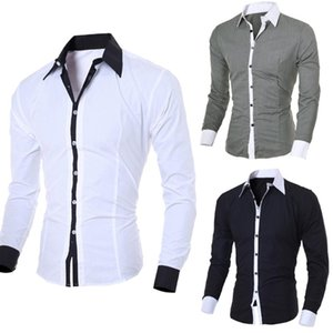 Men Casual Shirts 2020 Autumn New Fashion Solid Color Man Long Sleeve Cotton Slim Fit Casual Business Button Shirt Tops#guahao