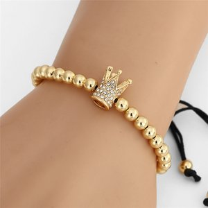 popular Crown Charm Adjustable Men Women Bracelet 5mm Copper Beaded Braiding Macrame Weave Beads Bracelet For Men Jewelry Gift
