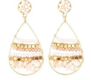 Bohemia Natural Stone Geometric Beads Earrings Ms. Creative Handmade Woven Ear Pendant22