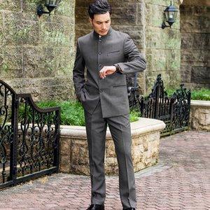 Классический китайский стиль свадебного Groom костюмы Мужской стенд воротник Одежда Slim Fit весна осень традиционный китайский Zhong Shan костюм