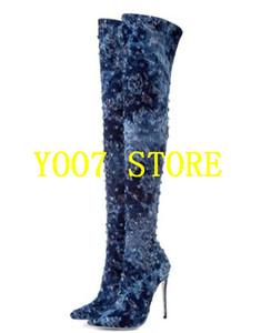 EMMA KING المرأة الجينز الأزرق أحذية أشار تو أكثر من الركبة عالية الكعب الدينيم أحذية الحجم 35-43