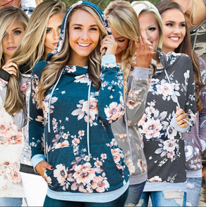 Hooded Pocket Hoodies Floral Print Sweatshirt Long Sleeve Hooded Drawstring Tops Jumper Autumn Winter Pockets Girls Pullover OOA8320