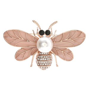 Zircon Bee Insect Brooch Pearl Suit Sweater Coat Lapel Pin Scarf Buckle Broches Women Accessories Fashion Personality Jewelry