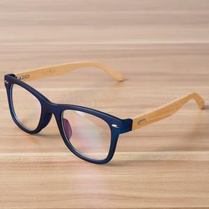 Lunettes de soleil mode Cadres Coréen Eye Lunettes Cadre Lentille Clear Lenglasses optiques Bâche en bois Bambou noir Bleu lunee spectacle pour femmes hommes