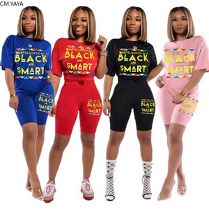 2020 New Summer Women Set Tracksuits Letter Print Short Sleeve Tops+Shorts Sexy Night Party Street Two Piece Suit Outfits GL6139 X0923