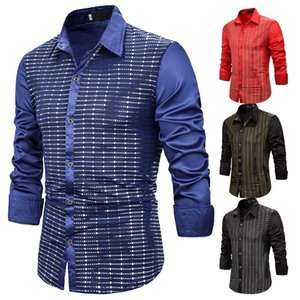 Single Breasted Males Clothing Panelled Mens Casual Shirts Fashion Slim Sequins Decoration Mens Shirts Casual Designer