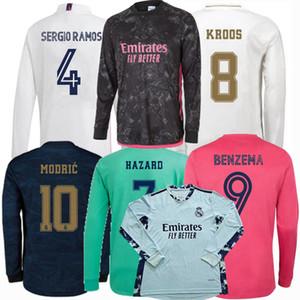 2019 2020 2021 Real Madrid de manga larga de fútbol jerseys COURTOIS ASENSIO RAMOS MARCELO MODRIC PELIGRO BENZEMA 20 21 fútbol camisa llena